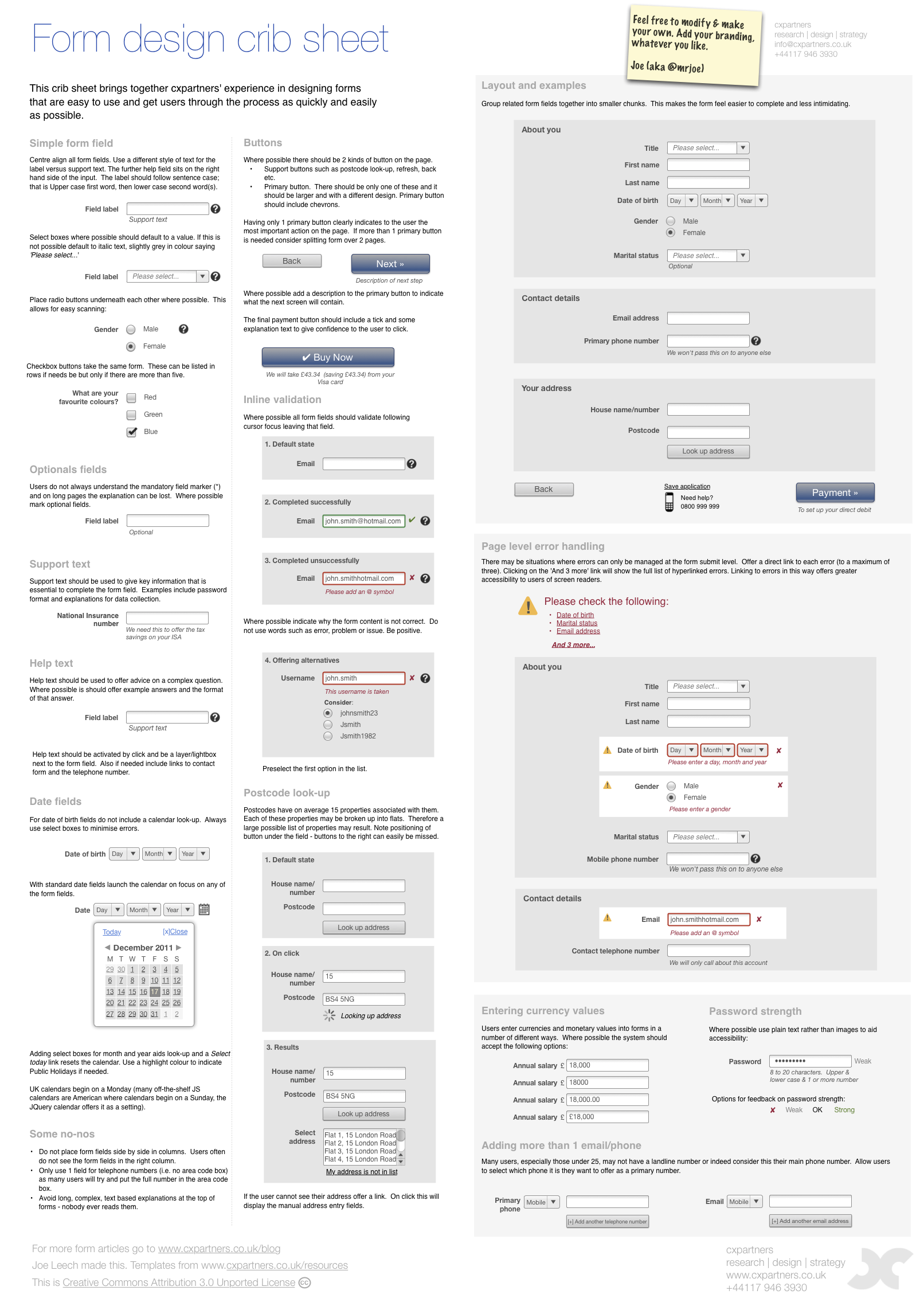Free cheat sheet for designing web forms lisa form design guidelines falaconquin