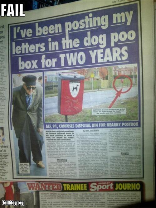 man mistakes dog poo box for letter box
